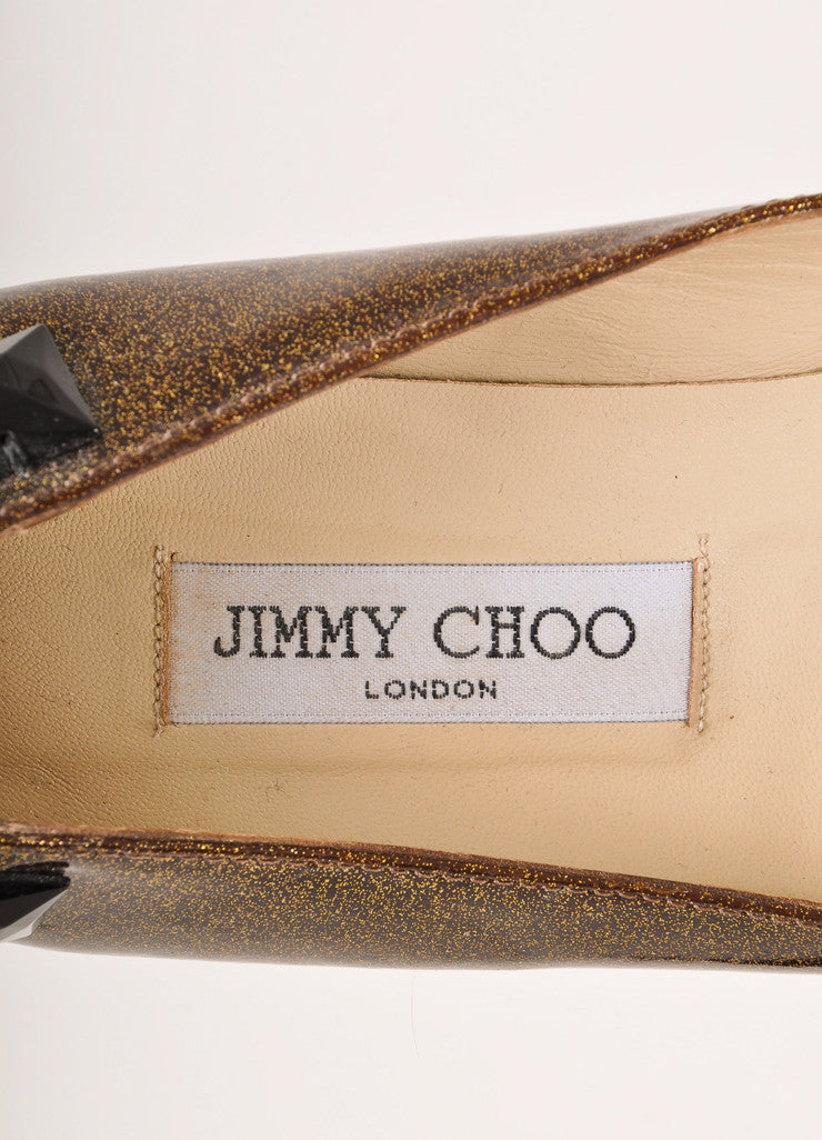 Jimmy Choo Gold Metallic and Black Bejeweled Patent Leather Flats Brand