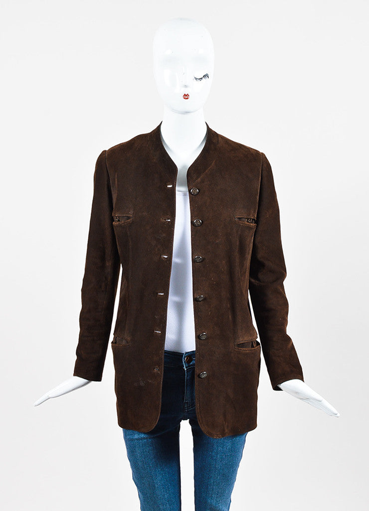 Chanel Brown Suede 'CC' Button Collarless Jacket Frontview