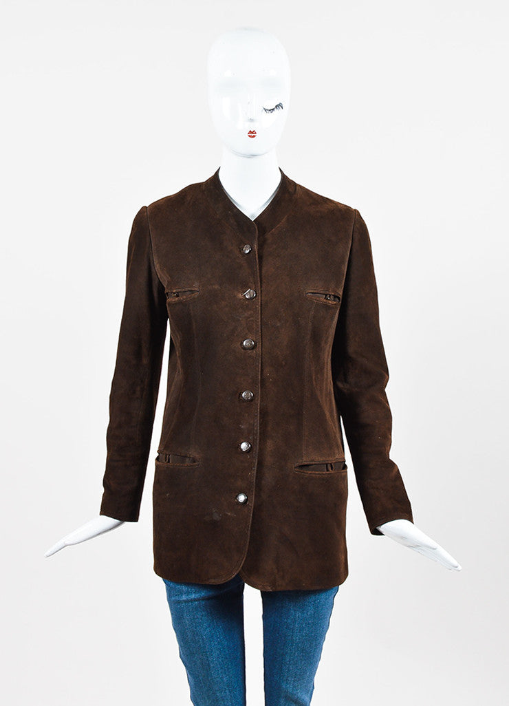 Chanel Brown Suede 'CC' Button Collarless Jacket Frontview 2
