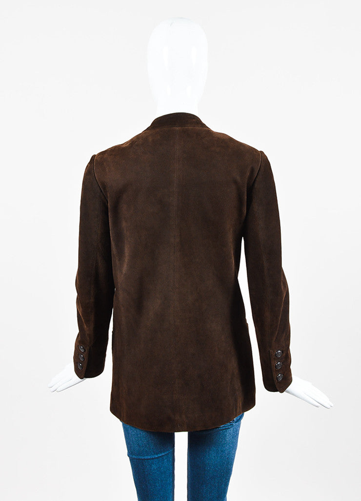 Chanel Brown Suede 'CC' Button Collarless Jacket Backview