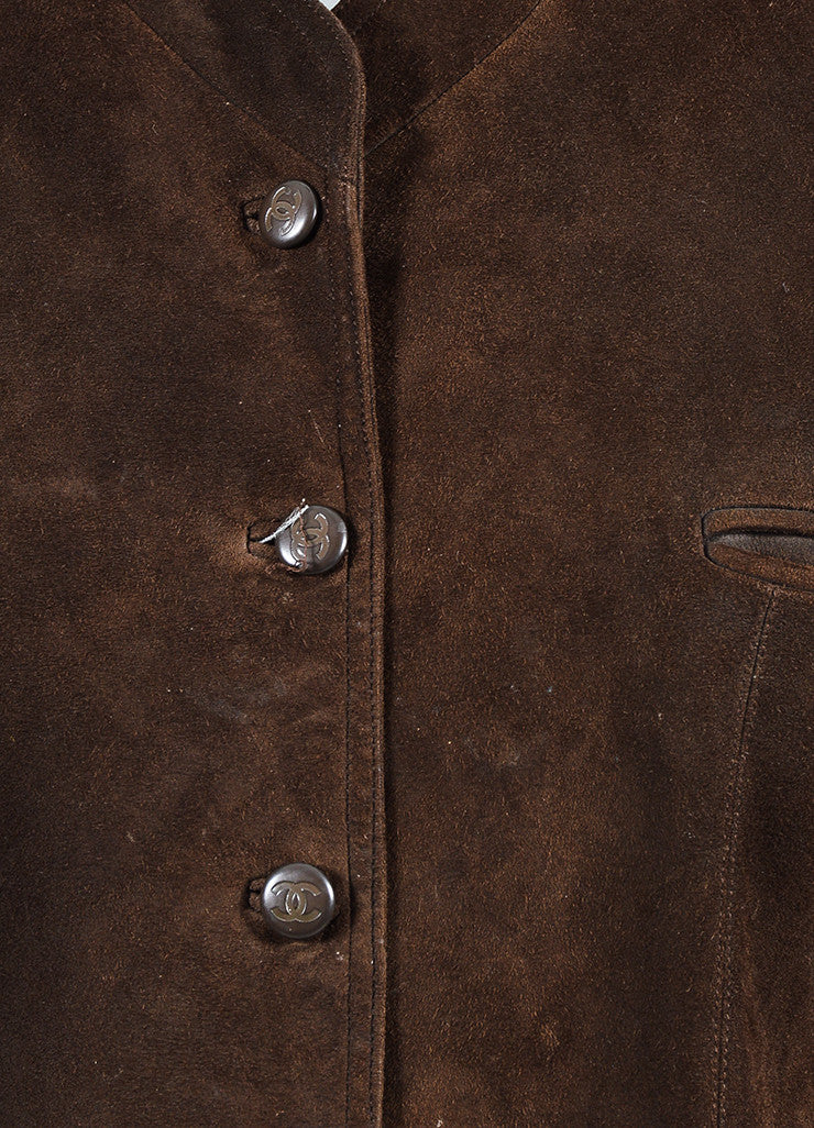 Chanel Brown Suede 'CC' Button Collarless Jacket Detail