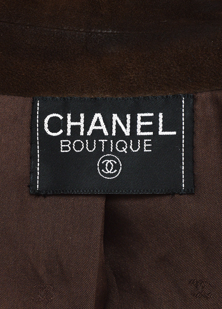 Chanel Brown Suede 'CC' Button Collarless Jacket Brand