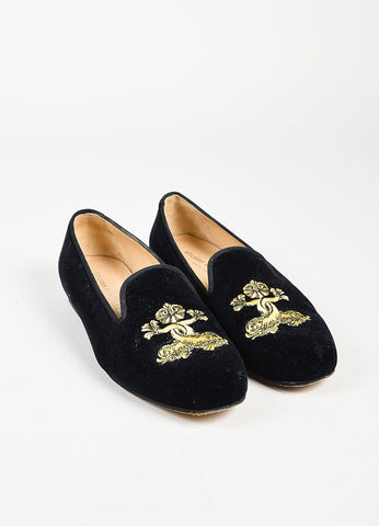 Stubbs & Wootton Black Velvet Gold Embroidered Round Toe Loafers Front