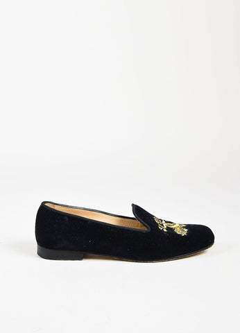 Stubbs & Wootton Black Velvet Gold Embroidered Round Toe Loafers Side