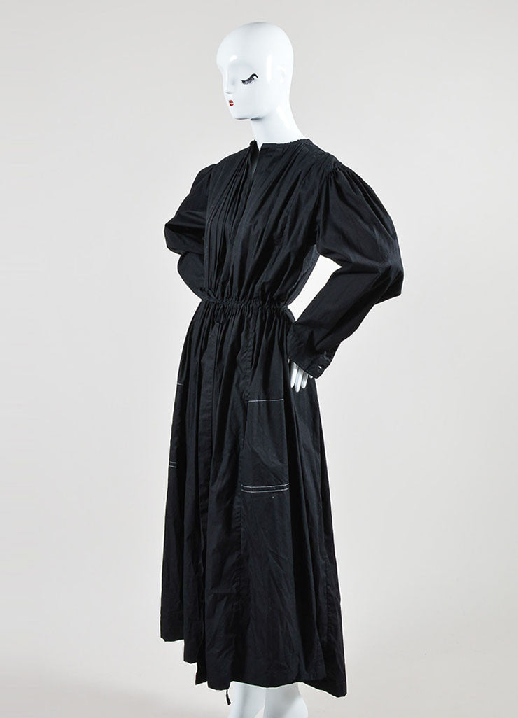 Black Dries Van Noten Poplin Pleated Drawstring Tie Belt Long Jacket Dress Sideview