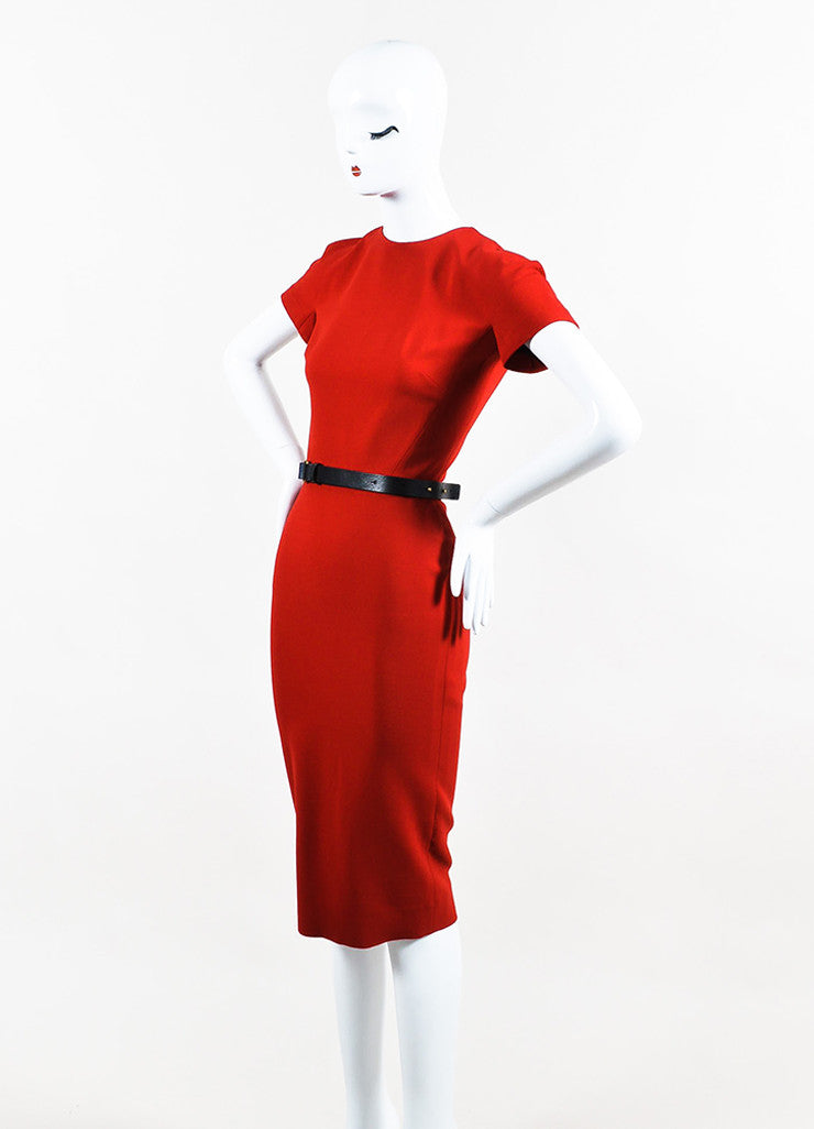 """Lipstick"" Red Victoria Beckham Silk Wool Short Sleeve Belted Dress Front"