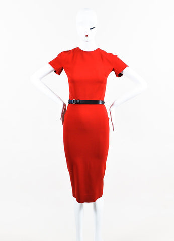 """Lipstick"" Red Victoria Beckham Silk Wool Short Sleeve Belted Dress Front 2"