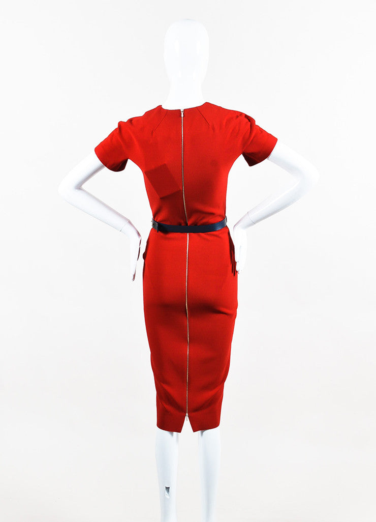"""Lipstick"" Red Victoria Beckham Silk Wool Short Sleeve Belted Dress Back"
