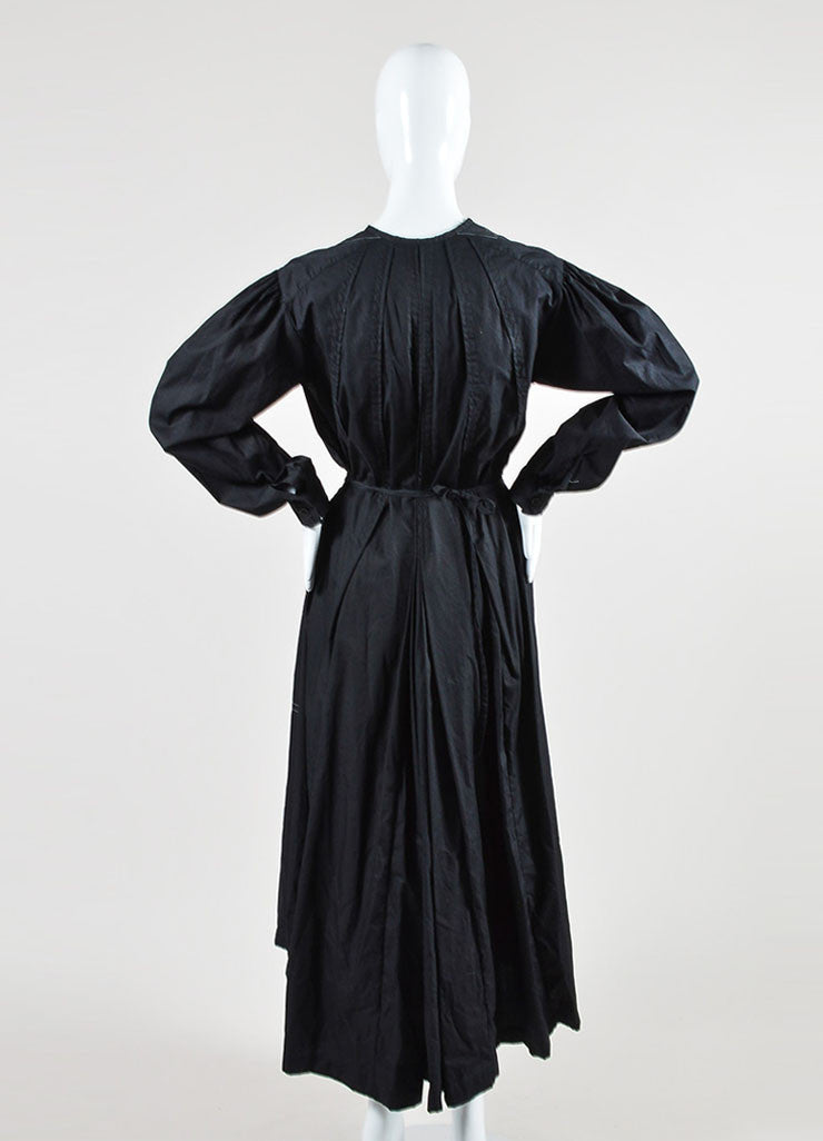 Black Dries Van Noten Poplin Pleated Drawstring Tie Belt Long Jacket Dress Backview