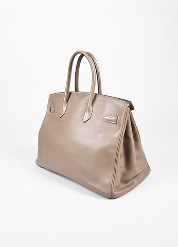 "Hermes ""Etoupe"" Grey Taupe Swift Leather and Palladium Hardware 35 cm Birkin Bag Sideview"