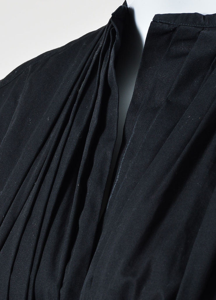 Black Dries Van Noten Poplin Pleated Drawstring Tie Belt Long Jacket Dress Detail