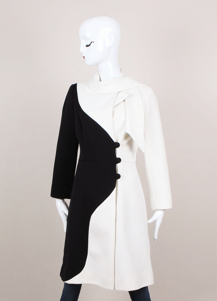 Black and White Colorblock Sash Collar Dressy Coat