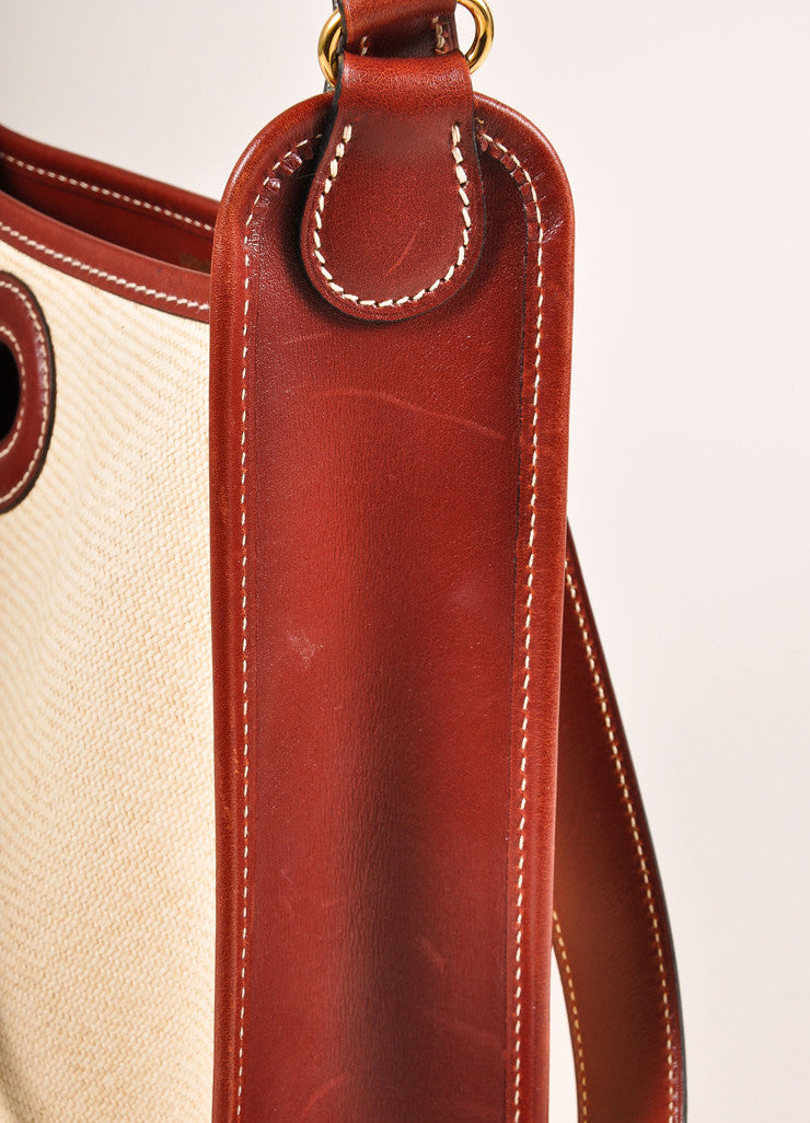 "Cream and Brown Raffia and Leather Toggle ""Vespa"" Shoulder Bag"