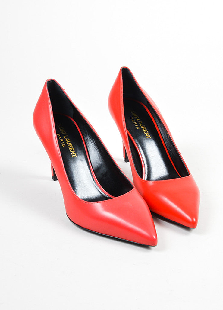 Red Saint Laurent Leather Pointed Toe Pumps Front