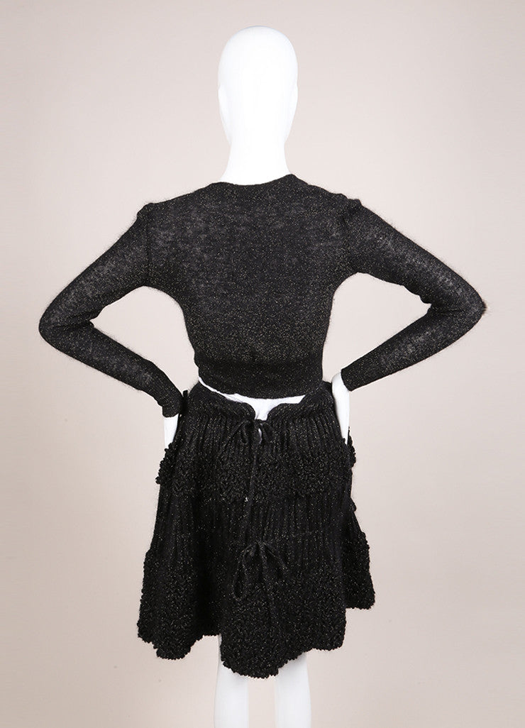 Alaia Black and Gold Knit Metallic Long Sleeve Crop Cardigan and Ruffle Skirt Set Backview