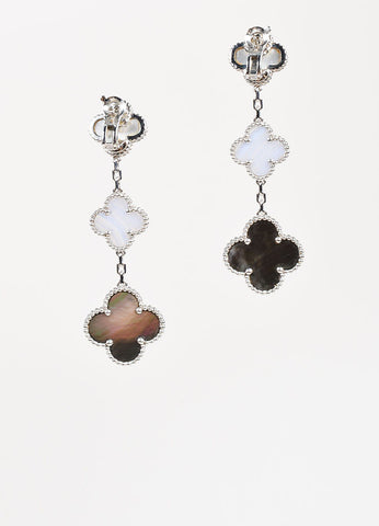 "Van Cleef & Arpels 18K Gold Mother Of Pearl Chalcedony ""Magic Alhambra"" Earrings Backview"