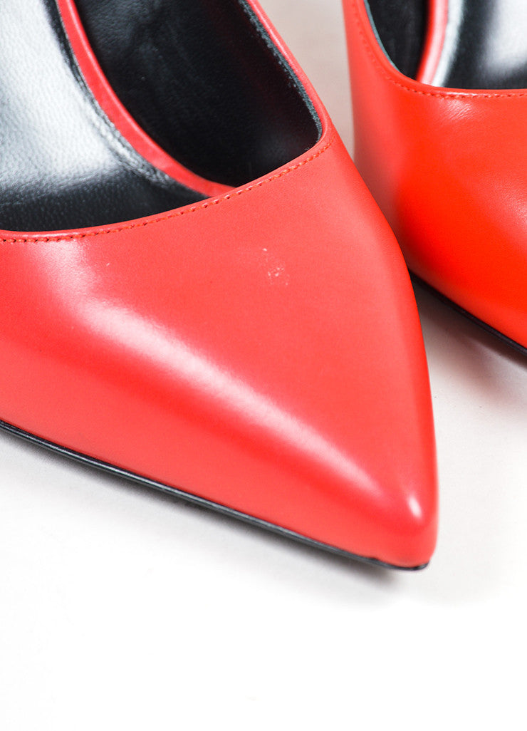 Red Saint Laurent Leather Pointed Toe Pumps Detail