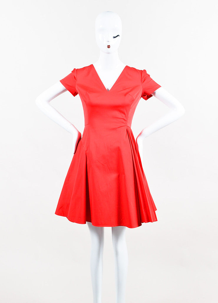 Red Christian Dior Short Sleeve V Neck Pleated Dress Front
