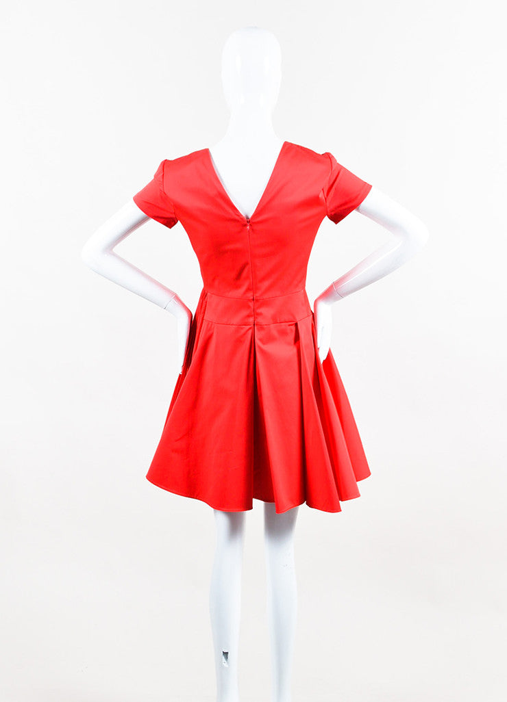 Red Christian Dior Short Sleeve V Neck Pleated Dress Back