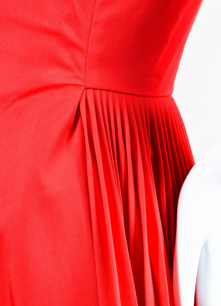 Red Christian Dior Short Sleeve V Neck Pleated Dress Detail