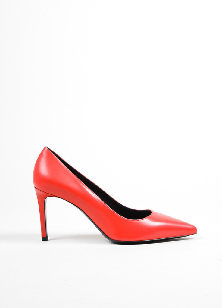 Red Saint Laurent Leather Pointed Toe Pumps Sideview