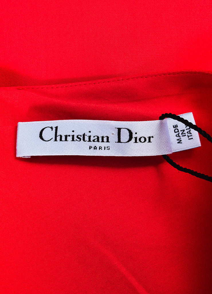 Red Christian Dior Short Sleeve V Neck Pleated Dress Brand