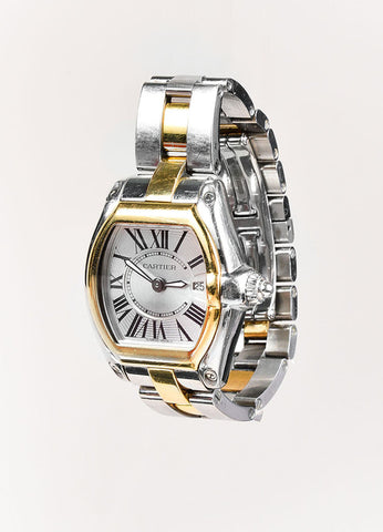 "Cartier 18K Yellow Gold Silver Stainless Steel ""Roadster"" Watch Sideview"