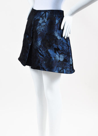 Valentino Navy and Black Silk Jacquard Butterfly Pleated Shorts Sideview