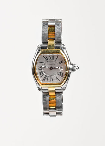 "Cartier 18K Yellow Gold Silver Stainless Steel ""Roadster"" Watch Frontview"