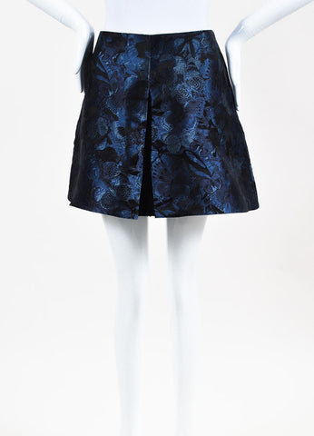 Valentino Navy and Black Silk Jacquard Butterfly Pleated Shorts Frontview