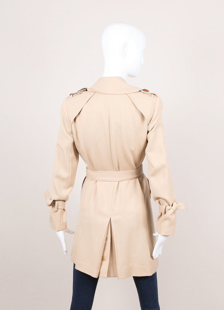 Beige Double Breasted Belted Wool Trench Coat