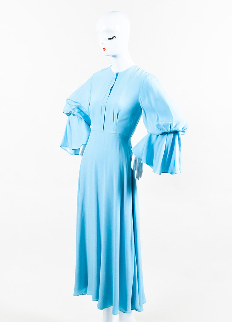"Roksanda Sky Blue Silk Crepe Bell Sleeve ""Ophelia"" Midi Dress Sideview"