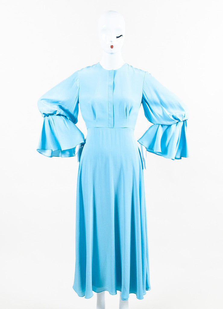 "Roksanda Sky Blue Silk Crepe Bell Sleeve ""Ophelia"" Midi Dress Frontview"