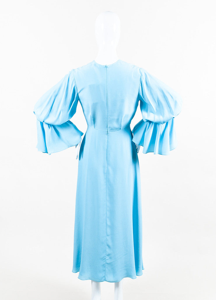 "Roksanda Sky Blue Silk Crepe Bell Sleeve ""Ophelia"" Midi Dress Backview"