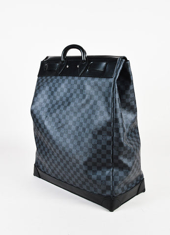 "Louis Vuitton Black Damier Graphite Coated Canvas Leather ""Steamer"" Bag Sideview"