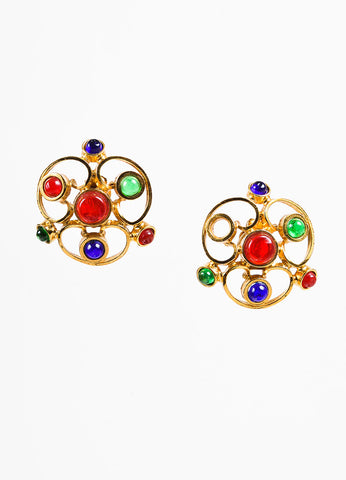 Chanel Blue, Red, and Gold Toned Gripoix Glass Stone Clip On Earrings Frontview