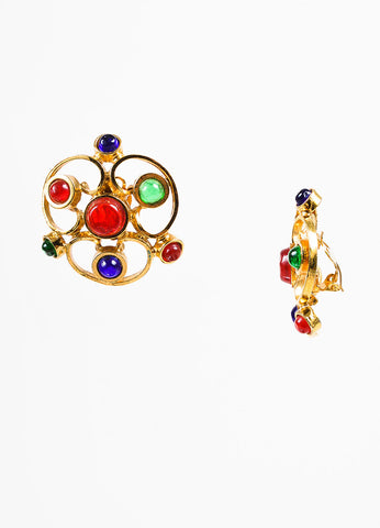 Chanel Blue, Red, and Gold Toned Gripoix Glass Stone Clip On Earrings Sideview