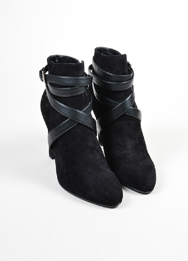 Black Saint Laurent Suede Leather Strappy Heeled Ankle Booties Frontview