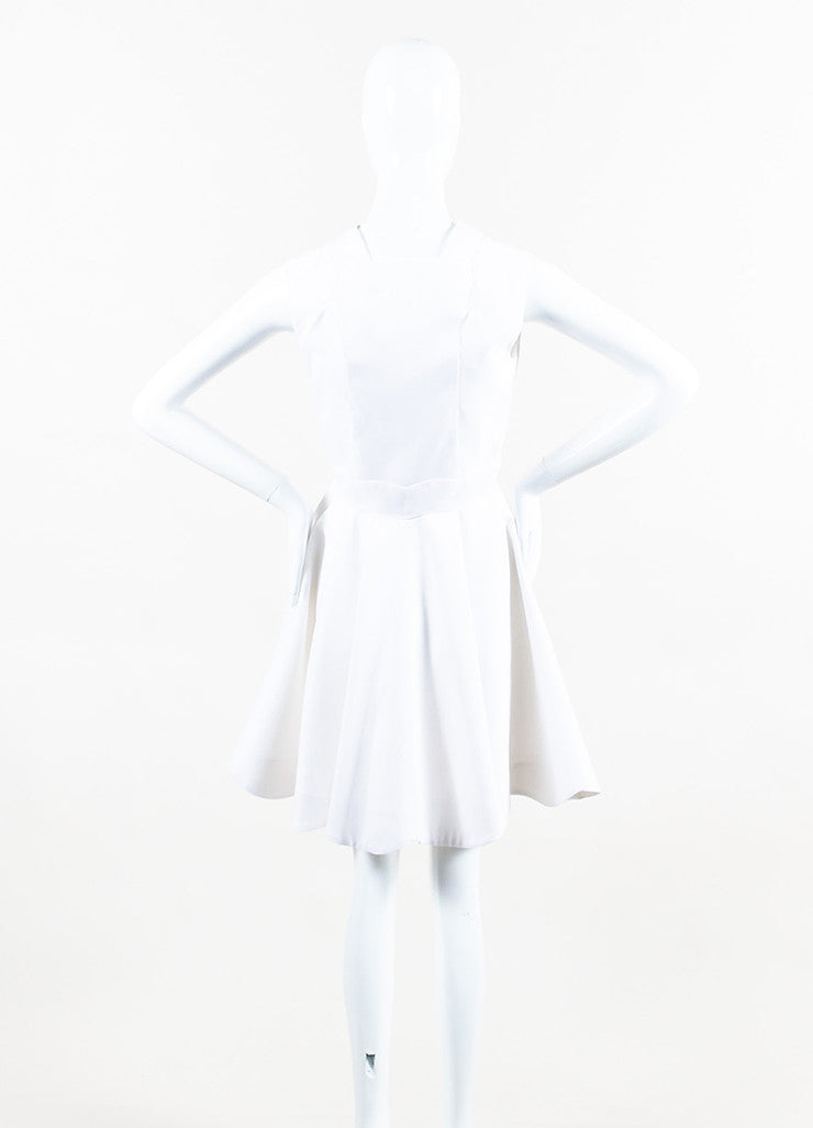 White Christian Dior Cotton Silk Scallop Hem Sleeveless Dress Back