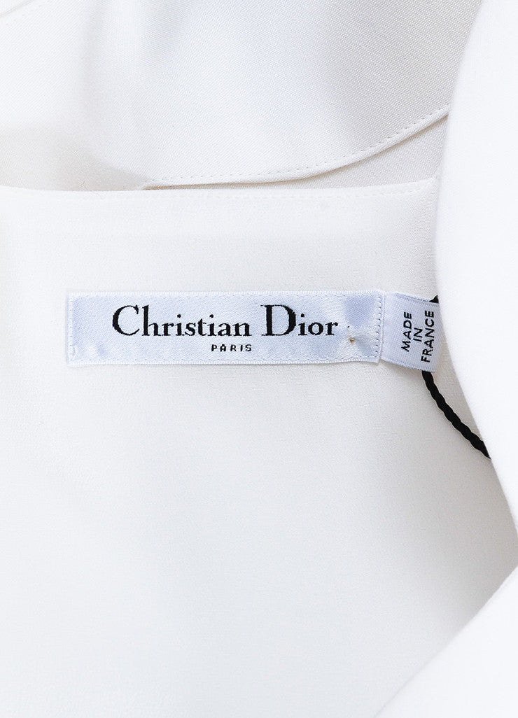 White Christian Dior Cotton Silk Scallop Hem Sleeveless Dress Brand