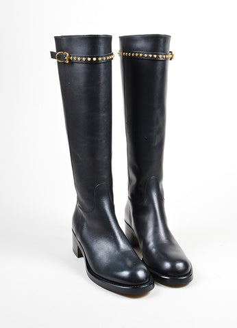 "Black Leather Stud Strap Knee High ""Irene"" Heeled Boots Frontview"