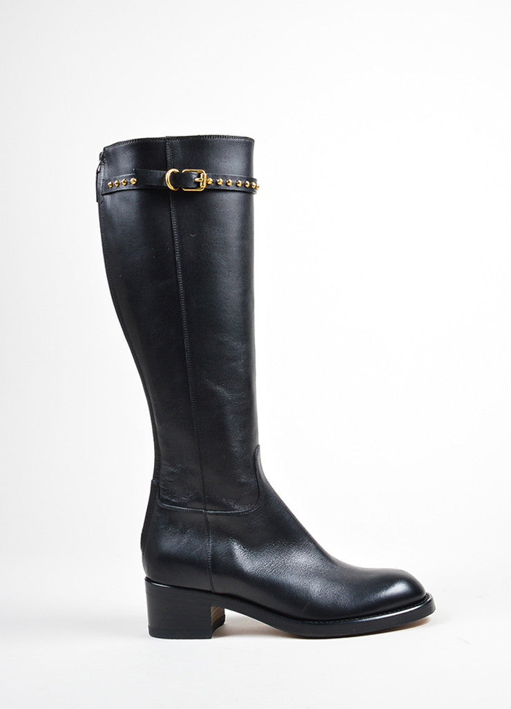 "Black Leather Stud Strap Knee High ""Irene"" Heeled Boots Sideview"