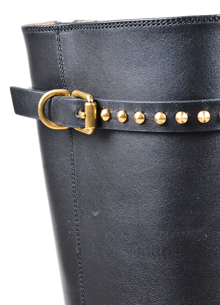 "Black Leather Stud Strap Knee High ""Irene"" Heeled Boots Detail"