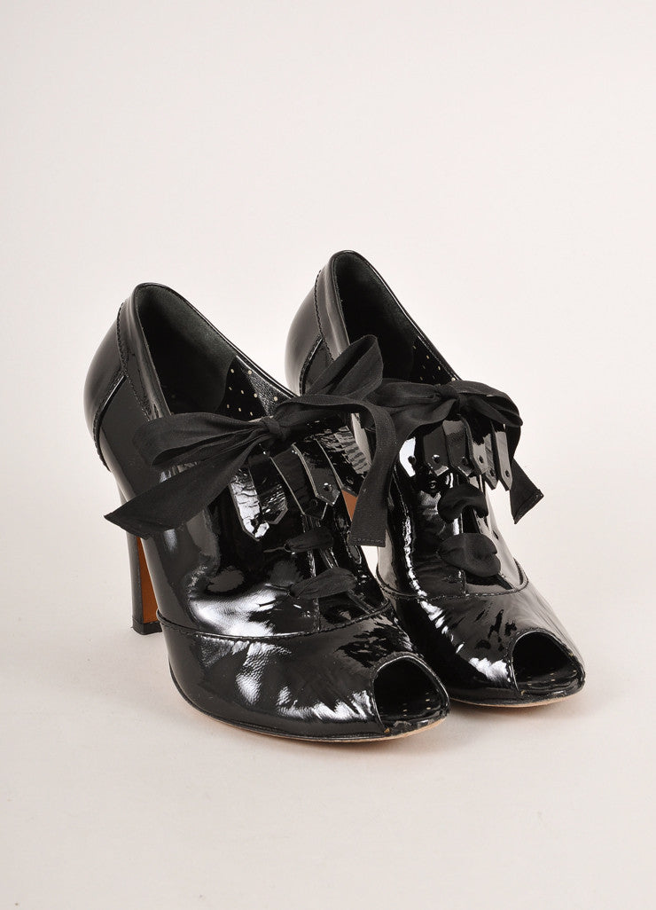 Moschino Cheap & Chic Black Patent Leather Peep Toe Laced Kilty Booties Frontview