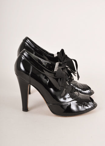 Moschino Cheap & Chic Black Patent Leather Peep Toe Laced Kilty Booties Sideview
