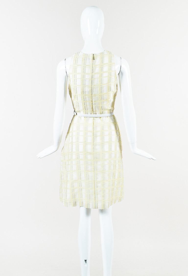 Jason Wu Pale Yellow White Multicolor Frayed Gingham Plaid Belted ...
