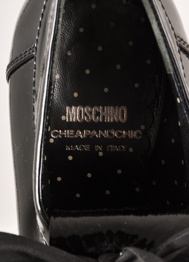 Moschino Cheap & Chic Black Patent Leather Peep Toe Laced Kilty Booties Brand