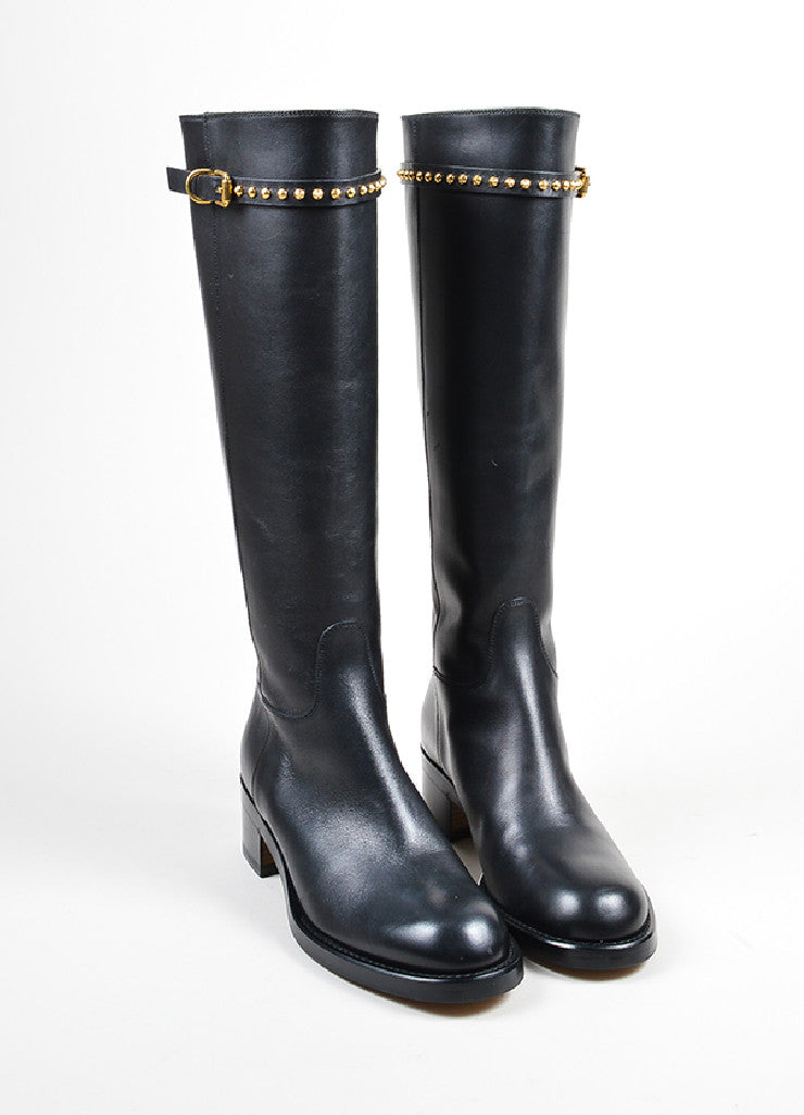 "Black Gucci Leather Stud Strap Knee High ""Irene"" Heeled Boots Frontview"