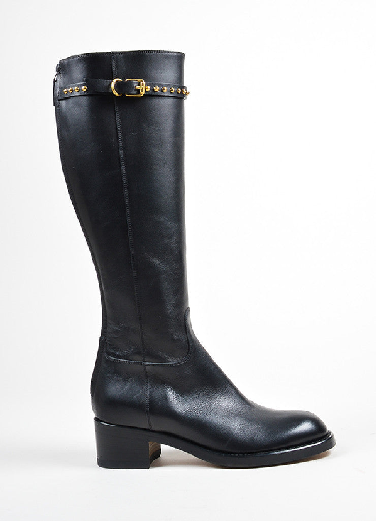 "Black Gucci Leather Stud Strap Knee High ""Irene"" Heeled Boots Sideview"