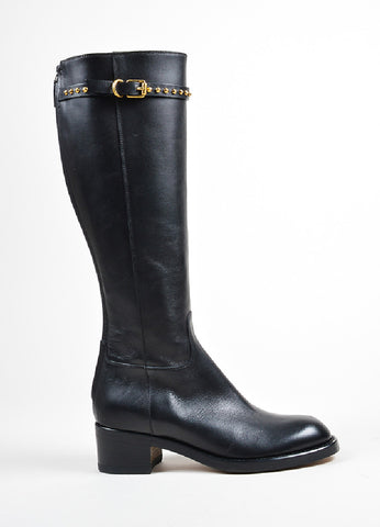 "Black Gucci Leather Stud Strap Knee High ""Irene"" Boots Sideview"